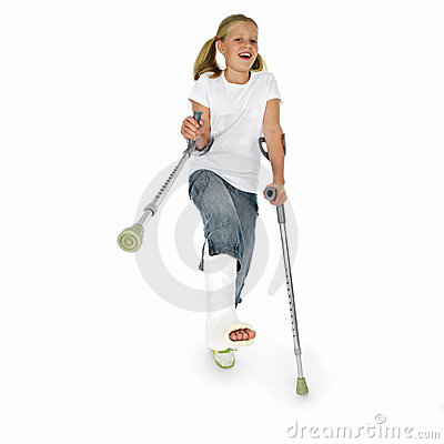 Girl with a broken leg dancing on crutches