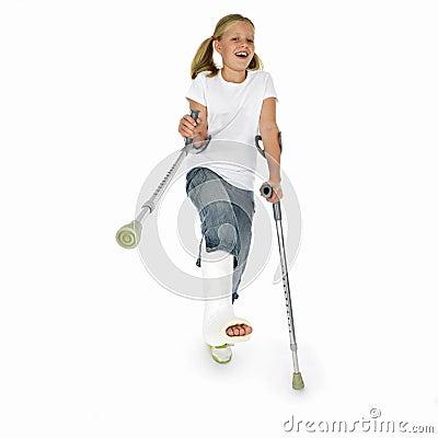 Girl with a broken leg dancing on crutches