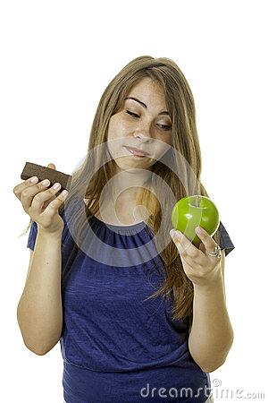 Girl with brownie and apple