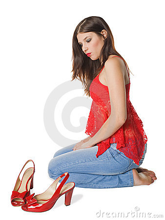Girl brunette and red sandals