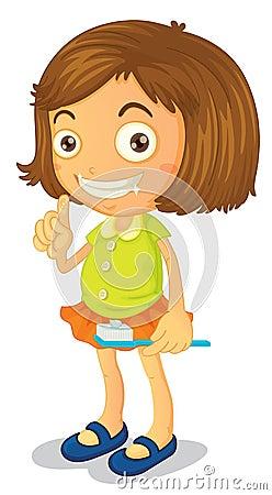 A girl brushing teeth