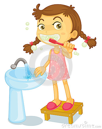 A girl brushing teeth