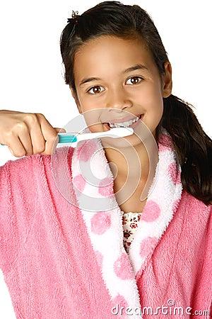 Free Girl Brushing Teeth Stock Image - 2927691