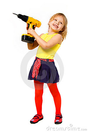 Girl  builder with screwdriver