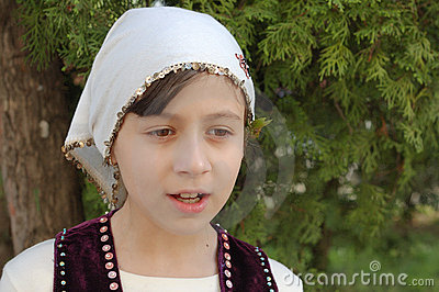 Girl in Bulgarian clothes