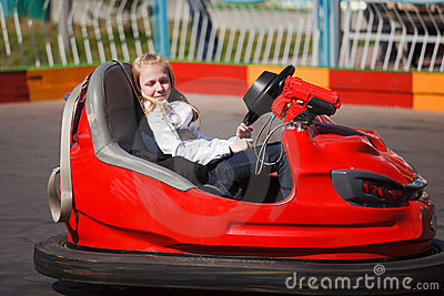 Girl in a bumper car