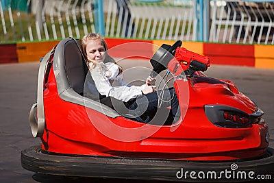 Girl in a bumper car