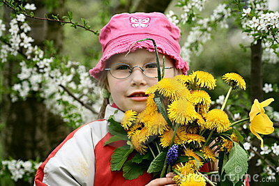 Girl with a bunch of flowers