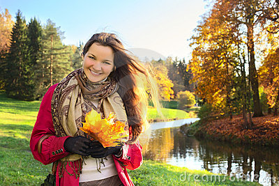 Girl with Bunch of Leaves