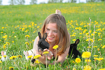 Girl with bunnies