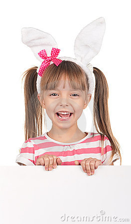 Girl with bunny ears
