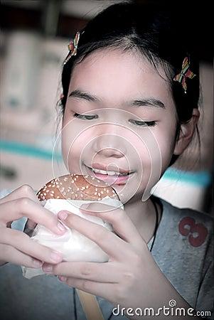 Girl and burger