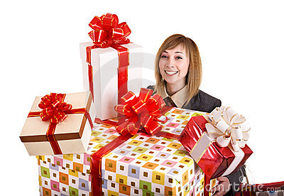 Girl in business suit with group of gift box.
