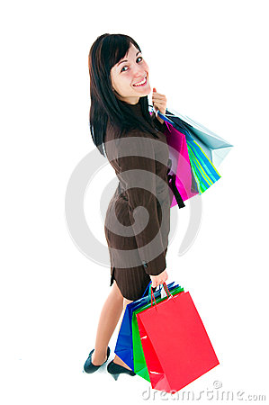 The girl in a business suit with purchases