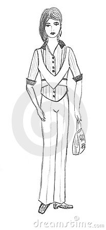 Girl in business suit, sketch