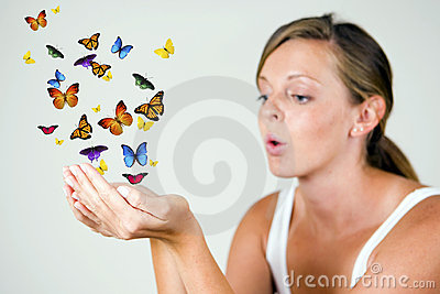 Girl with butterflies