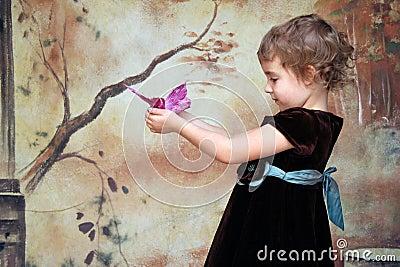 Girl Butterfly Portrait