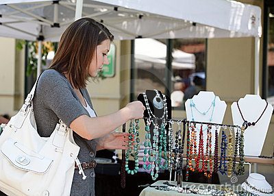 Girl buying jewelry