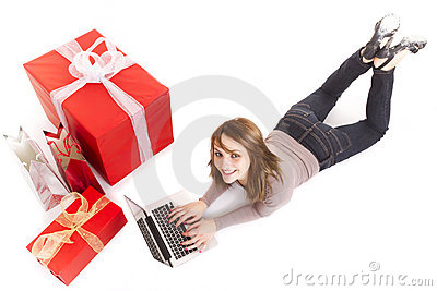 Girl buying with laptop