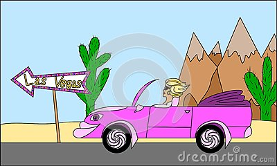 Girl with cabriolet car