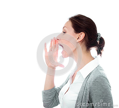 Girl calling yelling isolated white copy space
