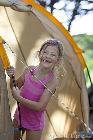 Girl on camping vacation
