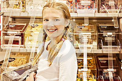 Girl in candy shop