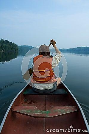 Girl in canoe Editorial Image