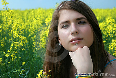 Girl at the canola field