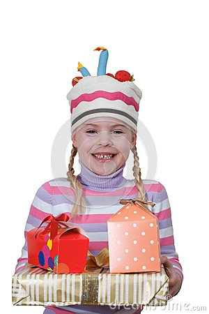 Girl in cap-cake with gift boxes