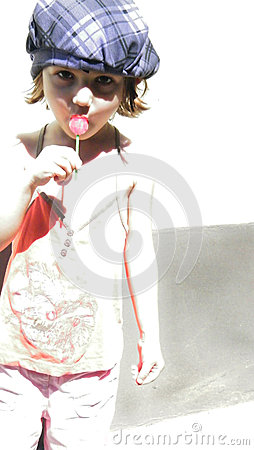 Girl with cap and lollipop portrait