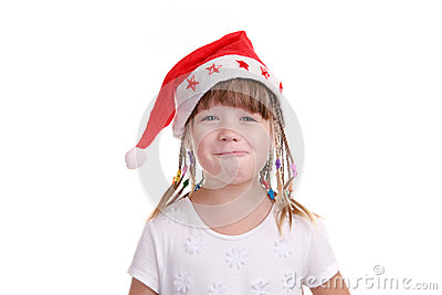 The girl in a cap of Santa Claus