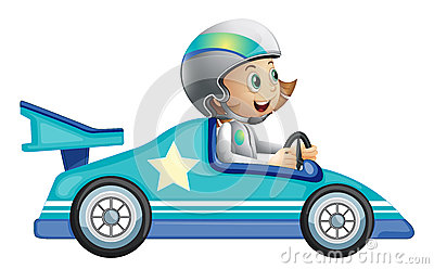 A girl in a car racing competition