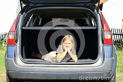 Girl in car trunk