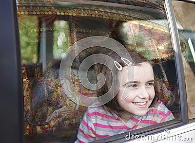 Girl and car window