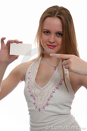 Girl with card