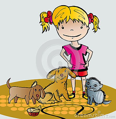 Girl cares of her pets