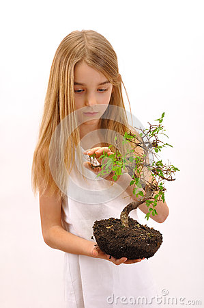 Girl caress tree