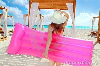 Girl in caribbean tropical beach
