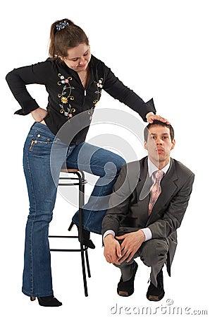 Free Girl Carress Sitting Man Stock Image - 5523561