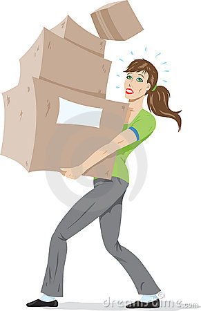 Girl carrying boxes.