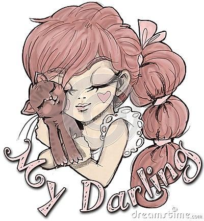 Girl and cat illustration for kids