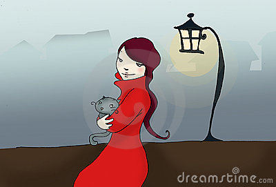 Girl with cat into the fog