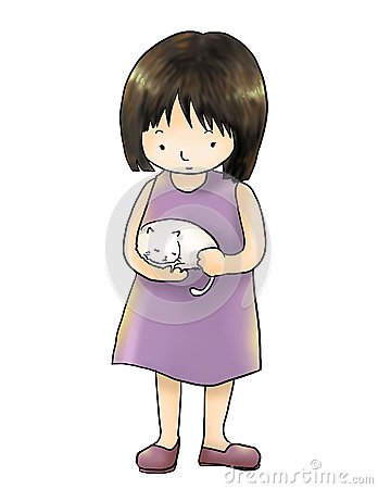 Girl with cat isolated white background