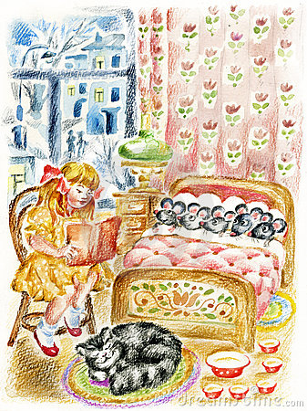 Girl, cat and little mouses