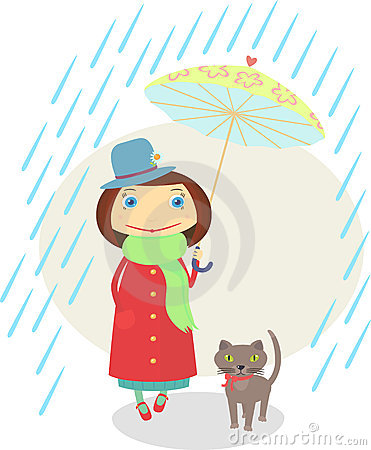 Girl with a cat walking under an umbrella in the r