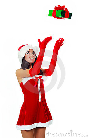 Girl catching a present