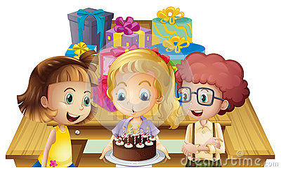 A girl celebrating her birthday with her friends