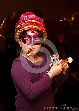 A girl celebrating New Year s Eve