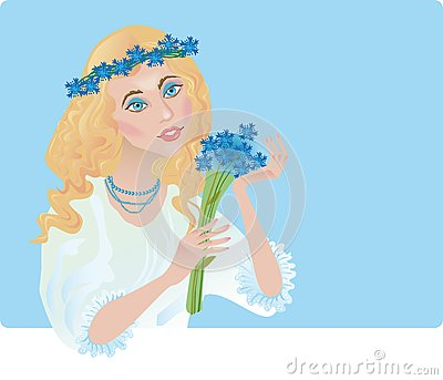 A girl is in the chaplet of corn-flowers